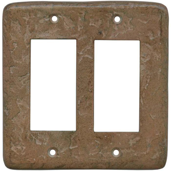 Texture Brown Clay 2 Gang Double GFCI Rocker Decorator Wallplates