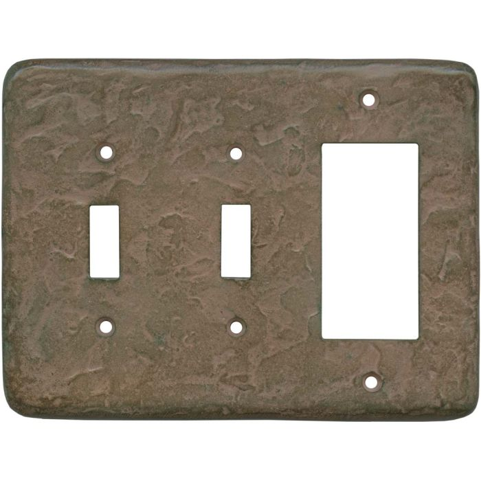 Texture Brown Clay Double 2 Toggle / 1 GFCI Rocker Combo Switchplates