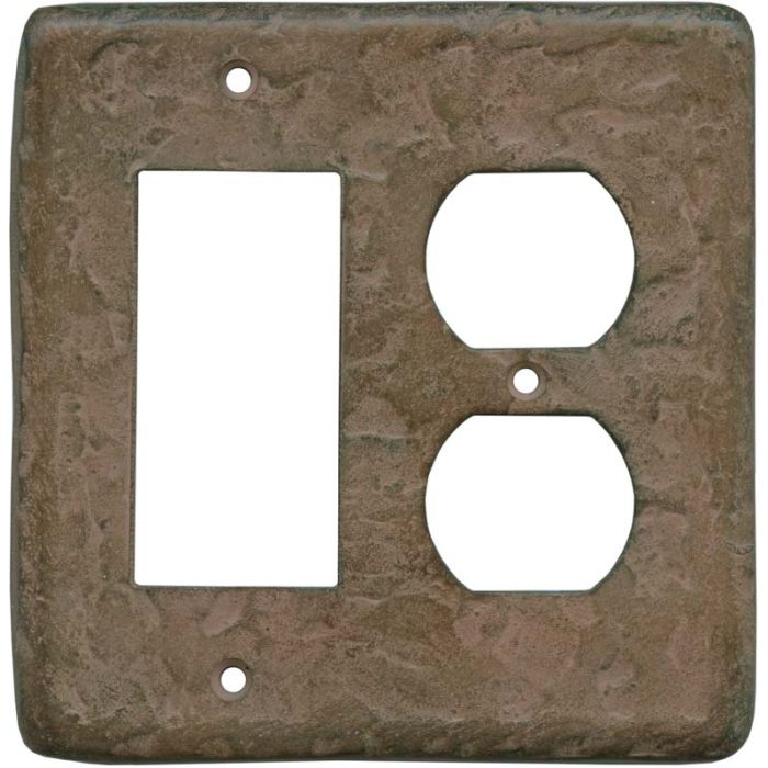 Texture Brown Clay Combination GFCI Rocker / Duplex Outlet Wall Plates