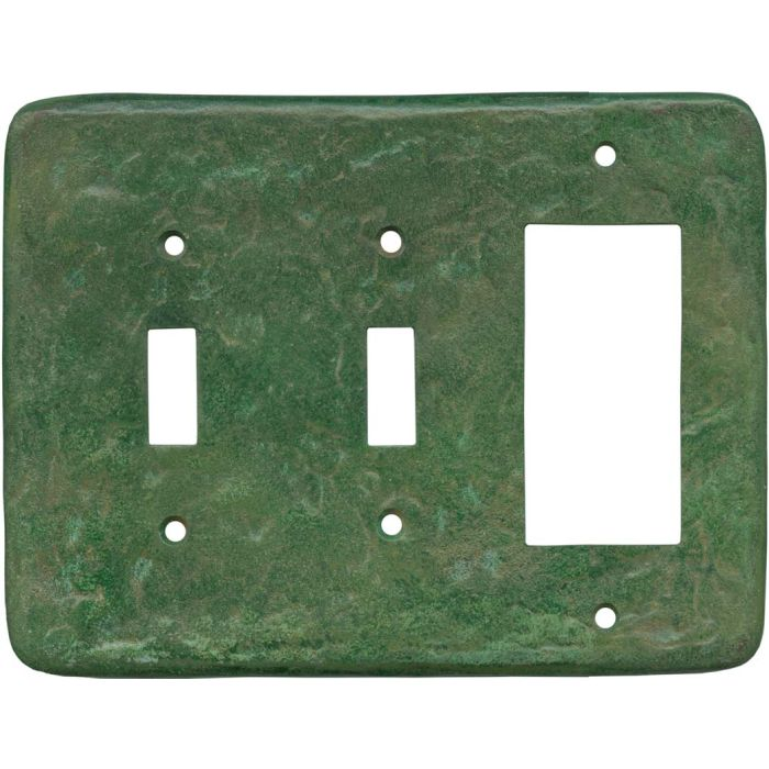 Texture Mesa Verde Green Double 2 Toggle / 1 GFCI Rocker Combo Switchplates