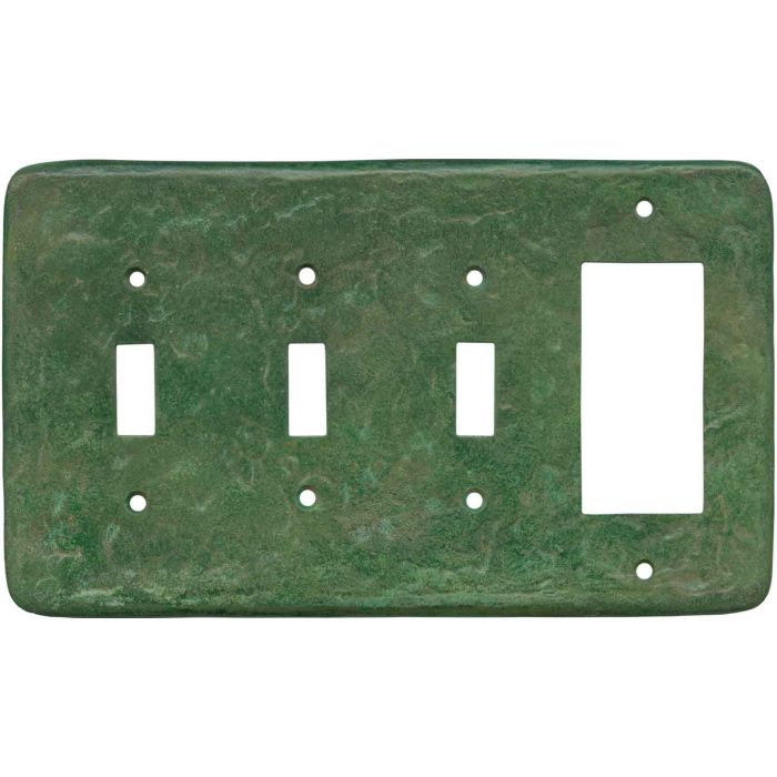 Texture Mesa Verde Green Triple 3 Toggle / 1 Rocker GFCI Switch Covers
