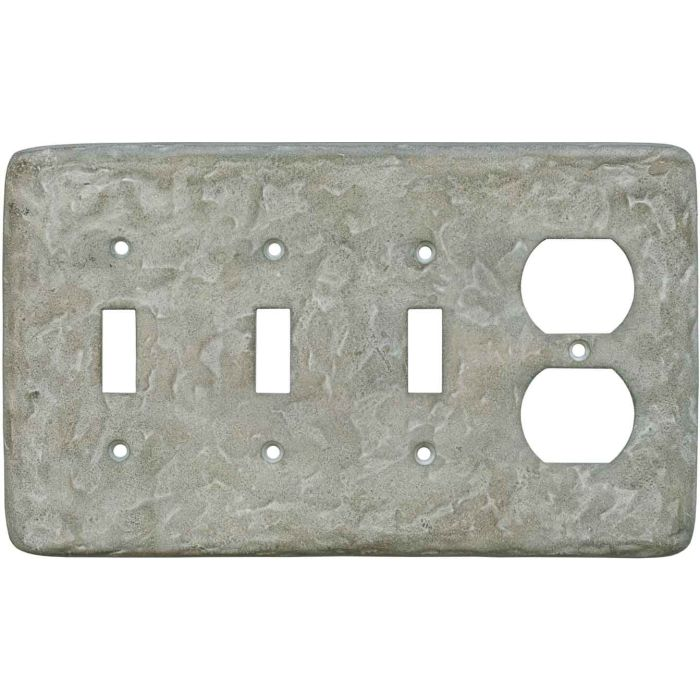 Texture Smokey Taupe - 3 Toggle/Outlet Combo Wallplates