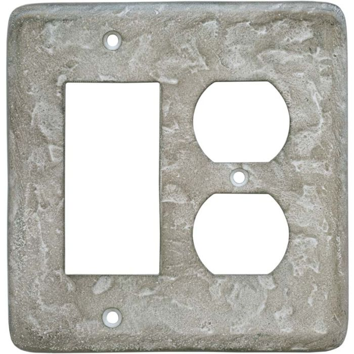 Texture Smokey Taupe Combination GFCI Rocker / Duplex Outlet Wall Plates