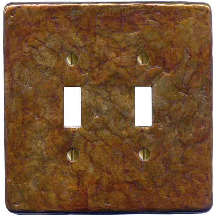 Textured Antique Double 2 Toggle Switch Plate Covers