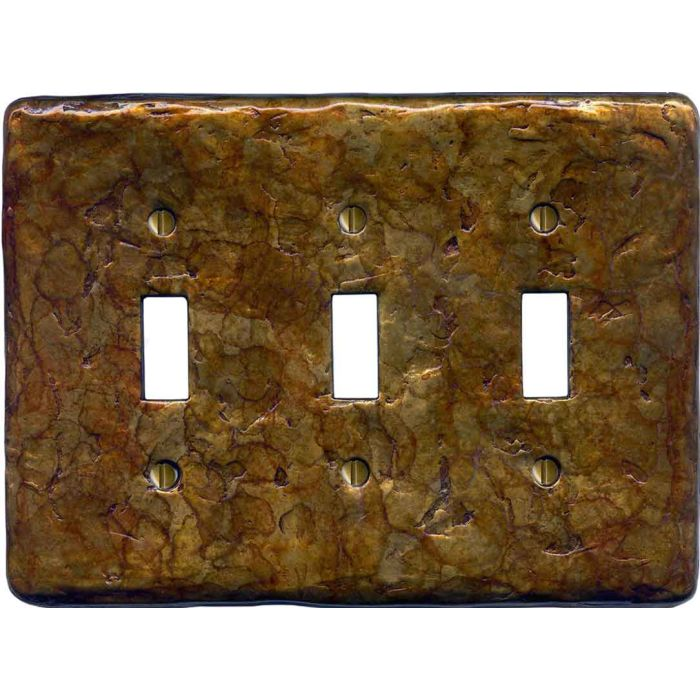 Textured Antique Triple 3 Toggle Light Switch Covers