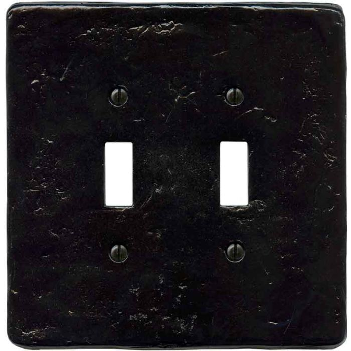 Textured Black Double 2 Toggle Switch Plate Covers