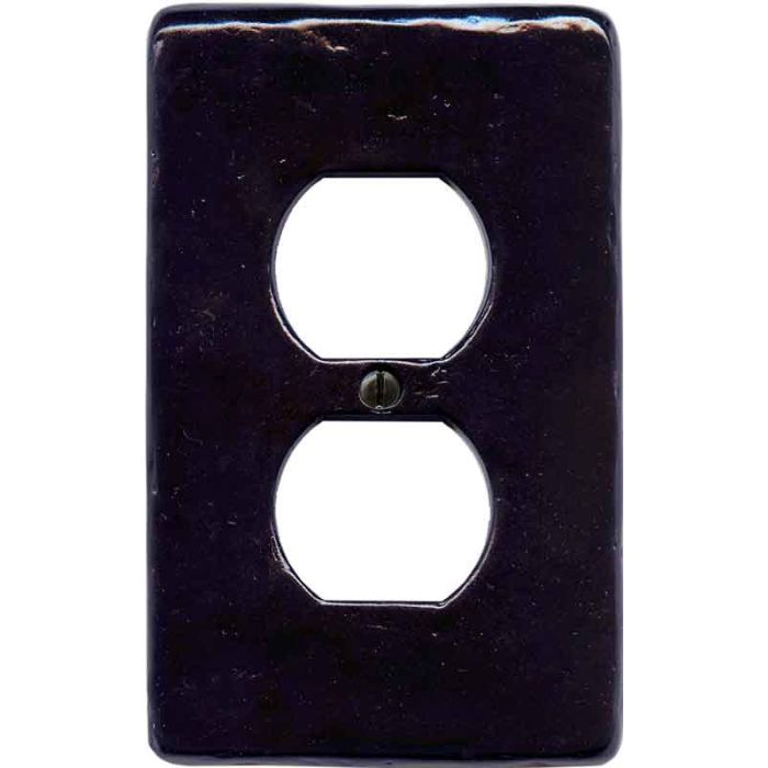 Textured Black 1 Gang Duplex Outlet Cover Wall Plate