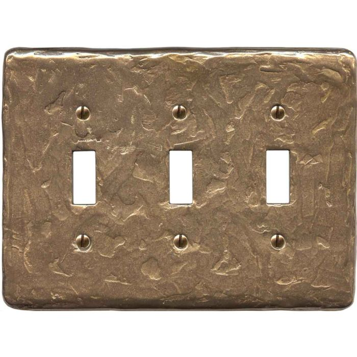 Textured Natural Triple 3 Toggle Light Switch Covers