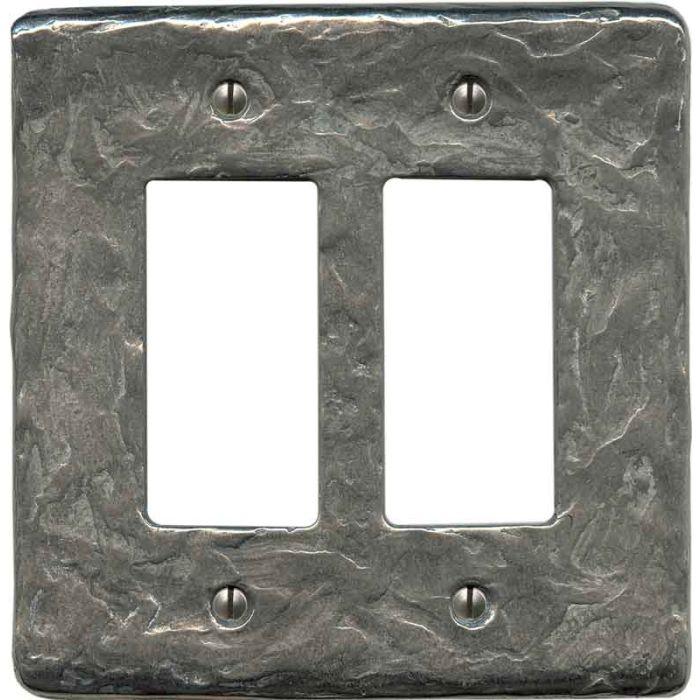 Textured Stainless Steel 2 Gang Double GFCI Rocker Decorator Wallplates