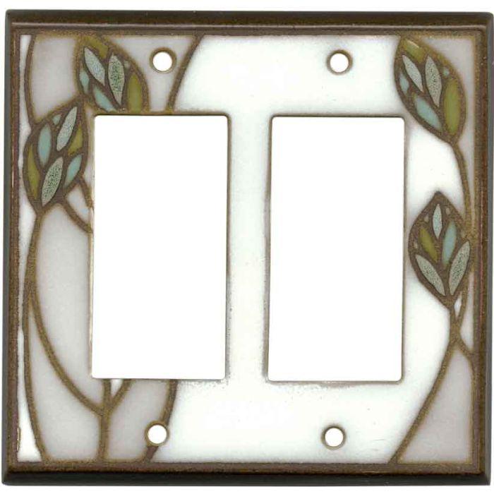 Three Leaves Ceramic2-Gang Decorator / GFCI Rocker Wall Plate Cover