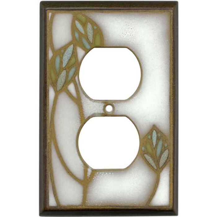 Three Leaves Ceramic1 - Gang Duplex Outlet Cover Wall Plate