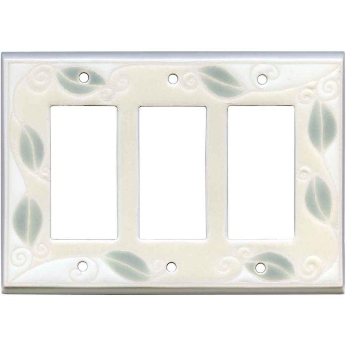 Trailing Vine Ceramic Triple 3 Rocker GFCI Decora Light Switch Covers