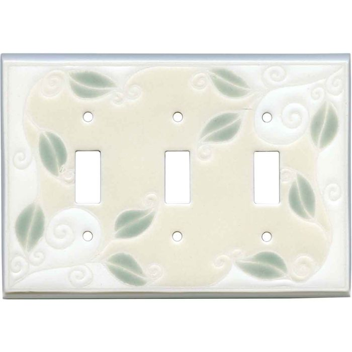 Trailing Vine Ceramic Triple 3 Toggle Light Switch Covers