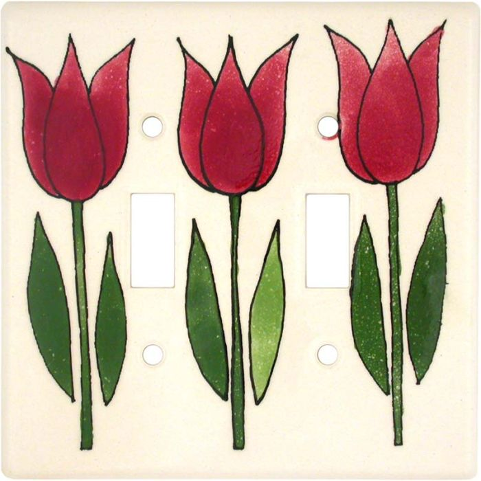 Tulip Double 2 Toggle Switch Plate Covers