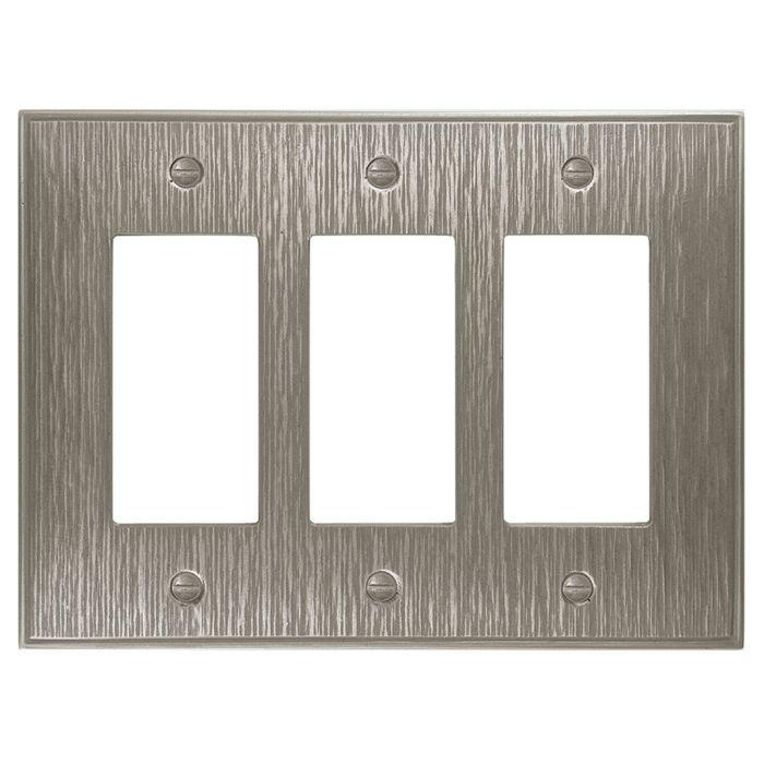Twill Brushed Nickel Triple 3 Rocker GFCI Decora Light Switch Covers