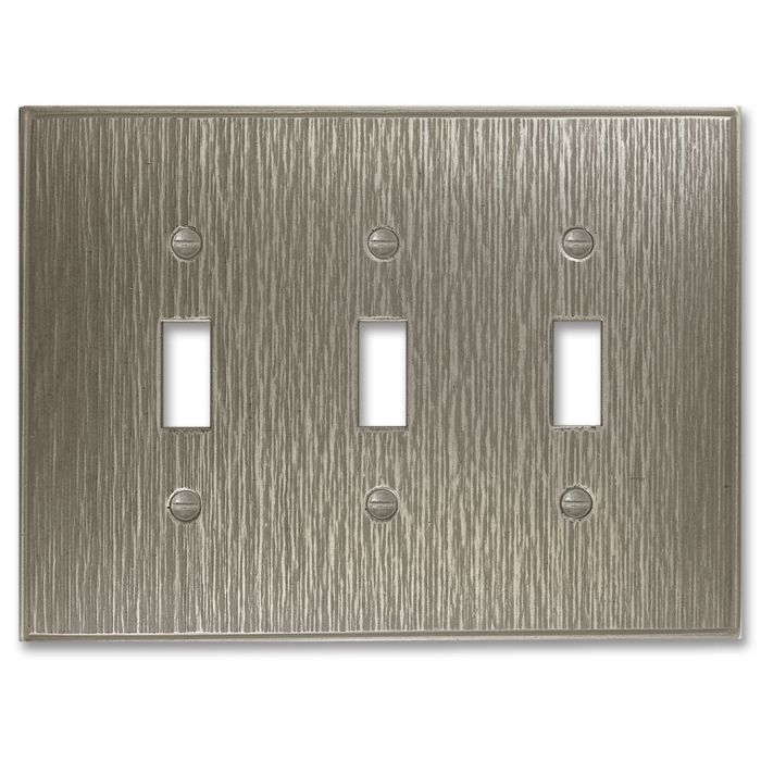 Twill Brushed Nickel Triple 3 Toggle Light Switch Covers