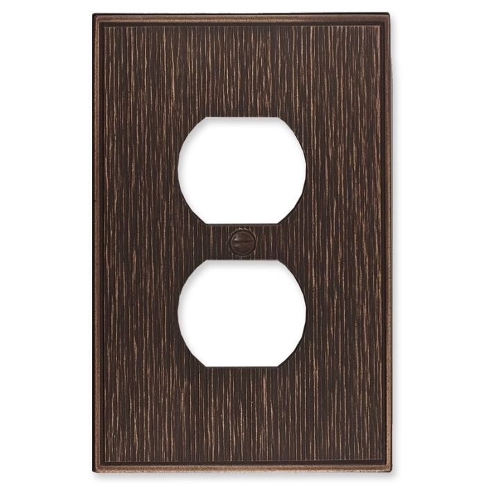 Twill Oil Rubbed Bronze 1 Gang Duplex Outlet Cover Wall Plate