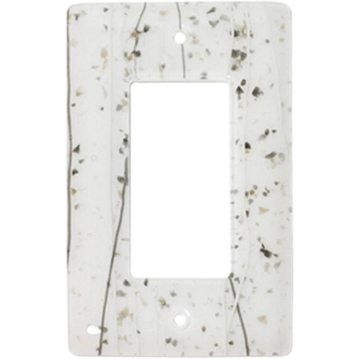 Vanilla Mardi Gras White Glass Single 1 Gang GFCI Rocker Decora Switch Plate Cover