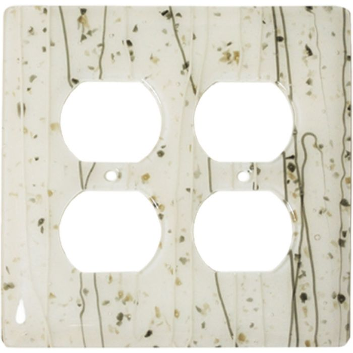 Vanilla Mardi Gras White Glass 2 Gang Duplex Outlet Wall Plate Cover