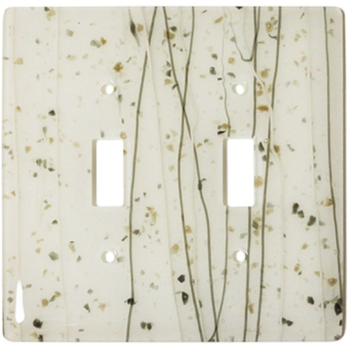 Vanilla Mardi Gras White Glass 2 Toggle Switch Plates