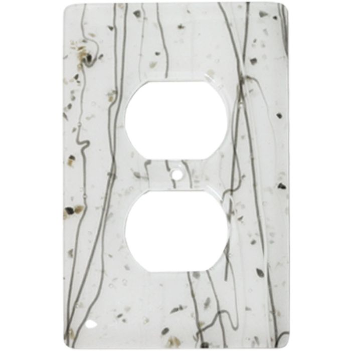 Vanilla Mardi Gras White Glass 1 Gang Duplex Outlet Cover Wall Plate