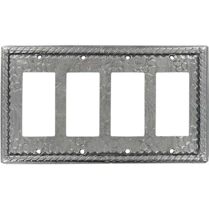Vineyard Pewter 4 Rocker GFCI Decorator Switch Plates