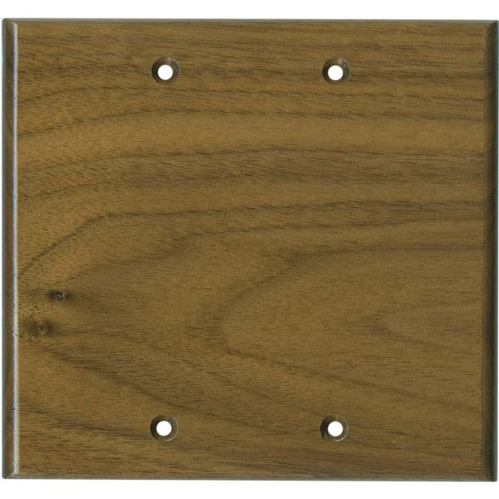 Walnut Satin Lacquer - Double Blank Wallplate Covers