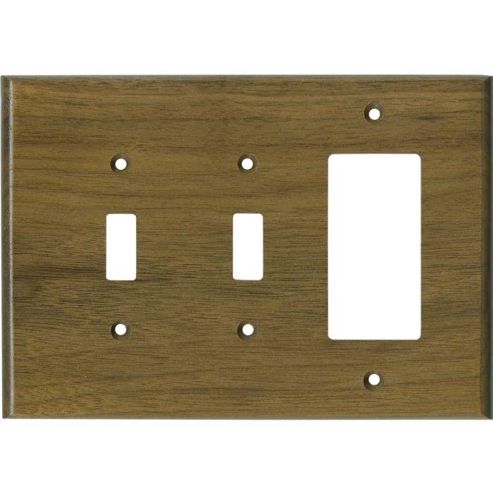 Walnut Satin Lacquer - 2 Toggle/1 GFCI Rocker Switchplates