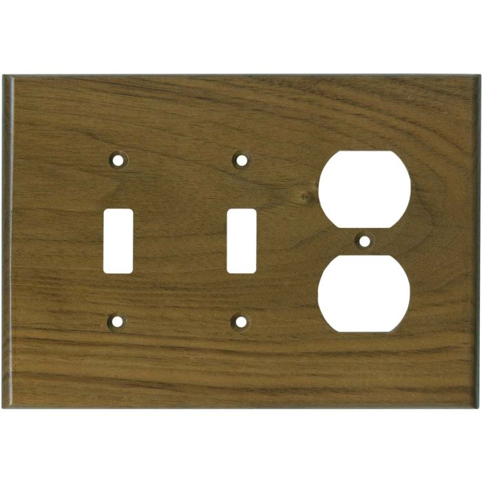 Walnut Satin Lacquer Double 2 Toggle / Outlet Combination Wall Plates