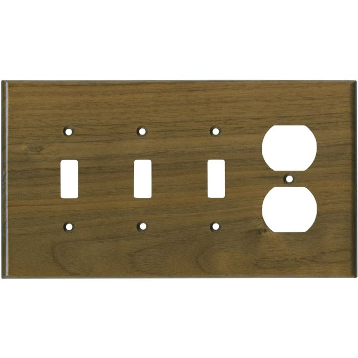 Walnut Satin Lacquer Combination Triple 3 Toggle / Outlet Wall Plate Covers