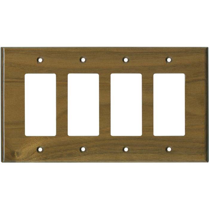 Walnut Satin Lacquer 4 Rocker GFCI Decorator Switch Plates