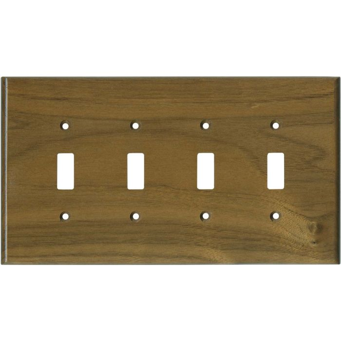Walnut Satin Lacquer Quad 4 Toggle Light Switch Covers