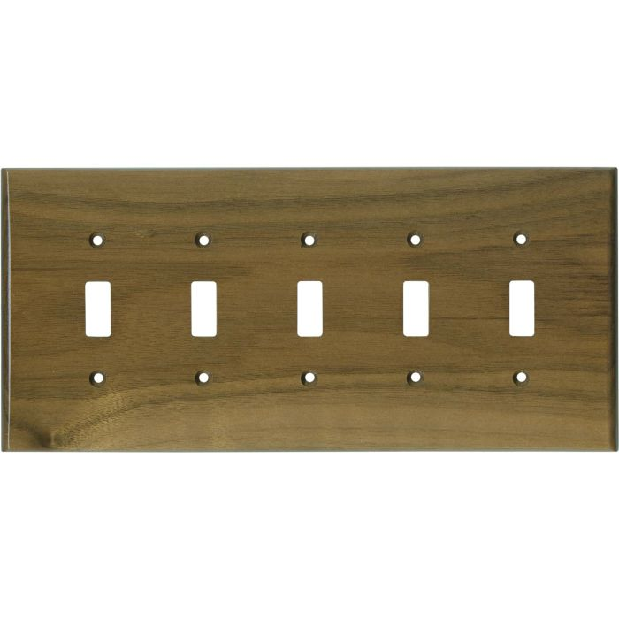 Walnut Satin Lacquer 5 Toggle Wall Switch Plates