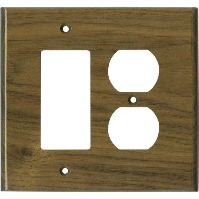Walnut Satin Lacquer - GFCI Rocker/Duplex Outlet Wallplate+B13657