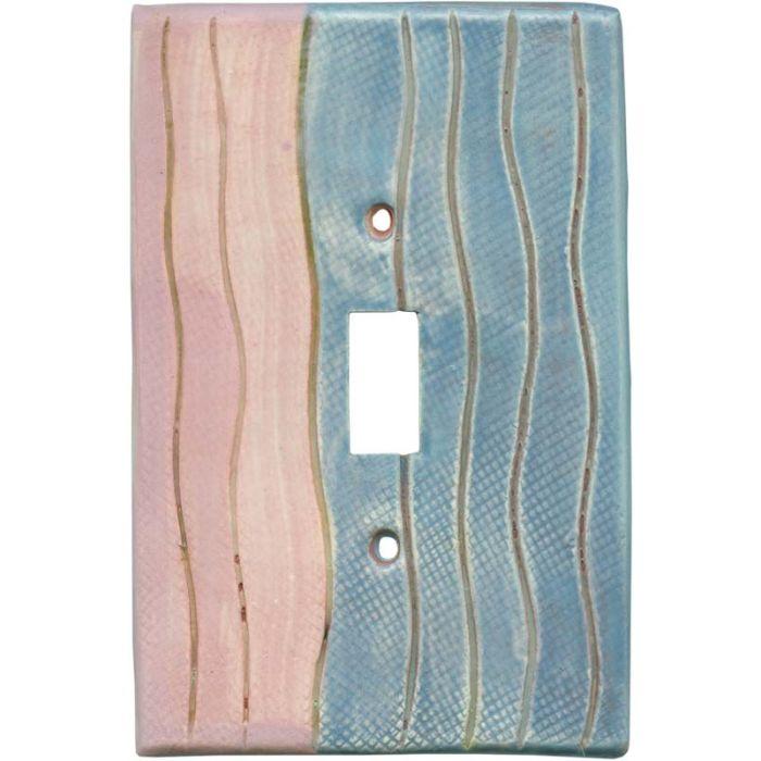 Wavy Stripe Pink Blue Single 1 Toggle Light Switch Plates
