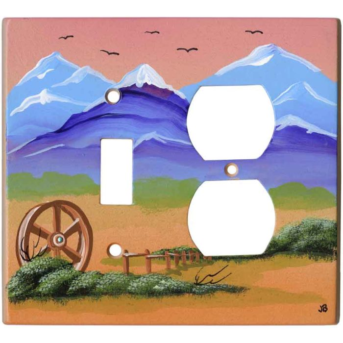 Western Plains1 Toggle Wall Switch Plate - Outlet Cover Combination