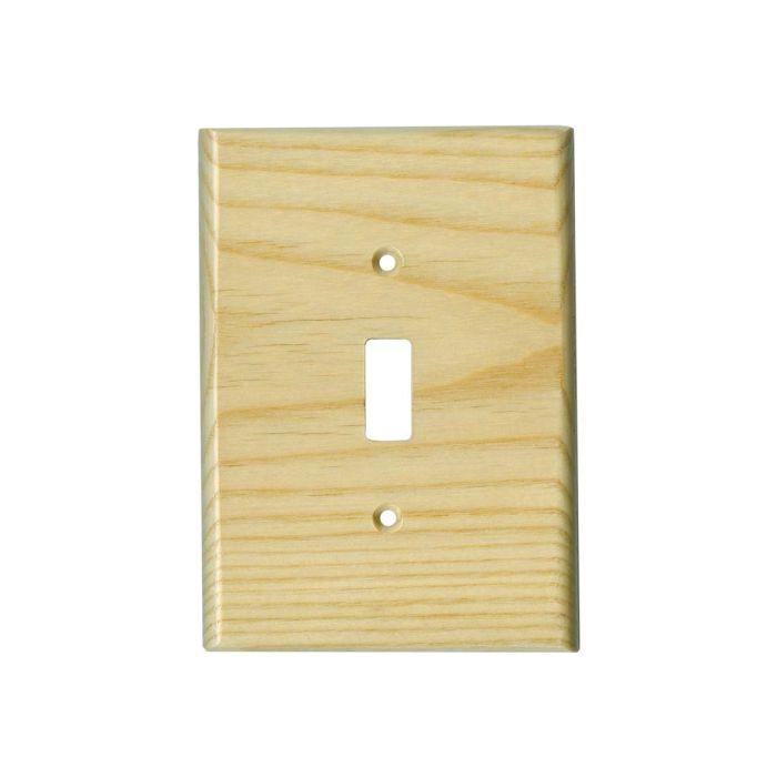 White Ash Satin Lacquer - Single Toggle Switch Plates