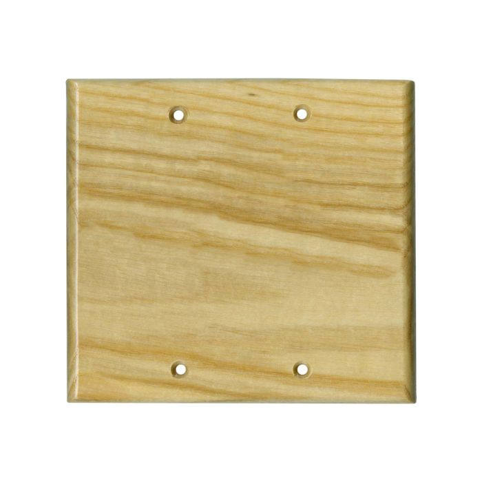 White Ash Satin Lacquer Double Blank Wallplate Covers