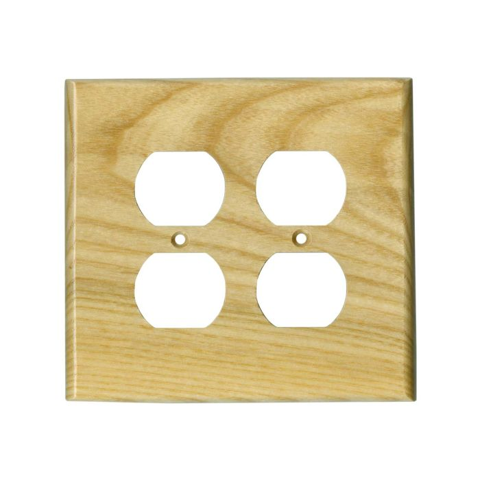 White Ash Satin Lacquer 2 Gang Duplex Outlet Wall Plate Cover