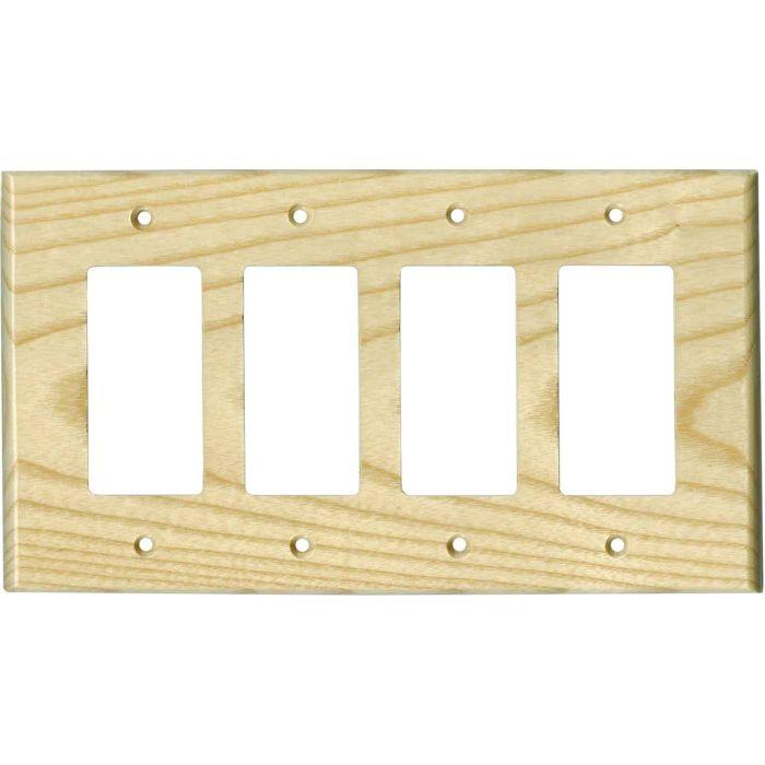 White Ash Satin Lacquer 4 Rocker GFCI Decorator Switch Plates