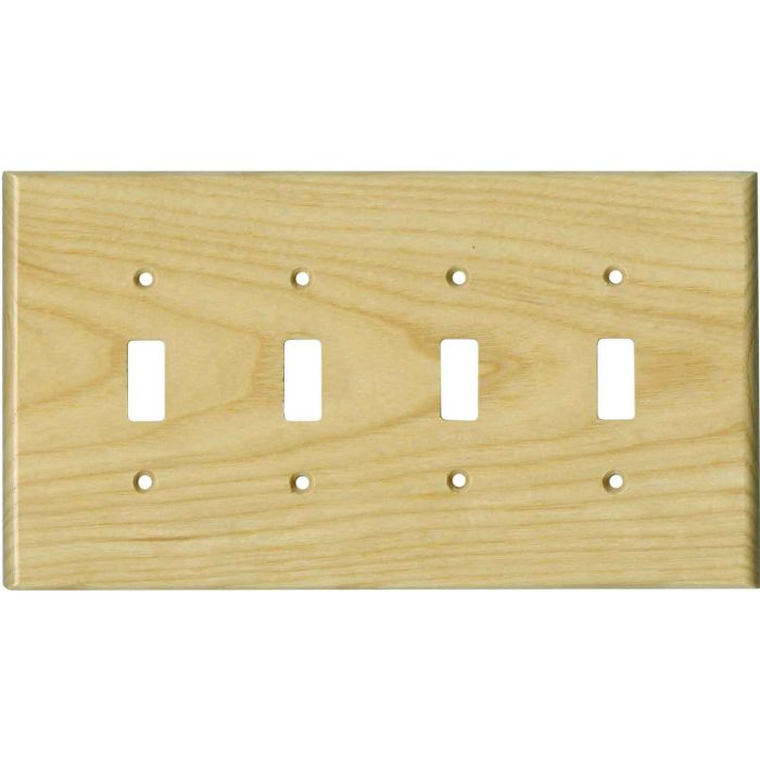 White Ash Satin Lacquer Quad 4 Toggle Light Switch Covers