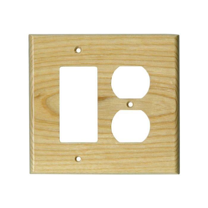 White Ash Satin Lacquer Combination GFCI Rocker / Duplex Outlet Wall Plates