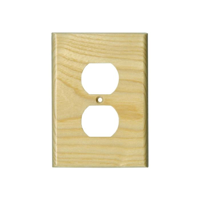 White Ash Satin Lacquer 1 Gang Duplex Outlet Cover Wall Plate