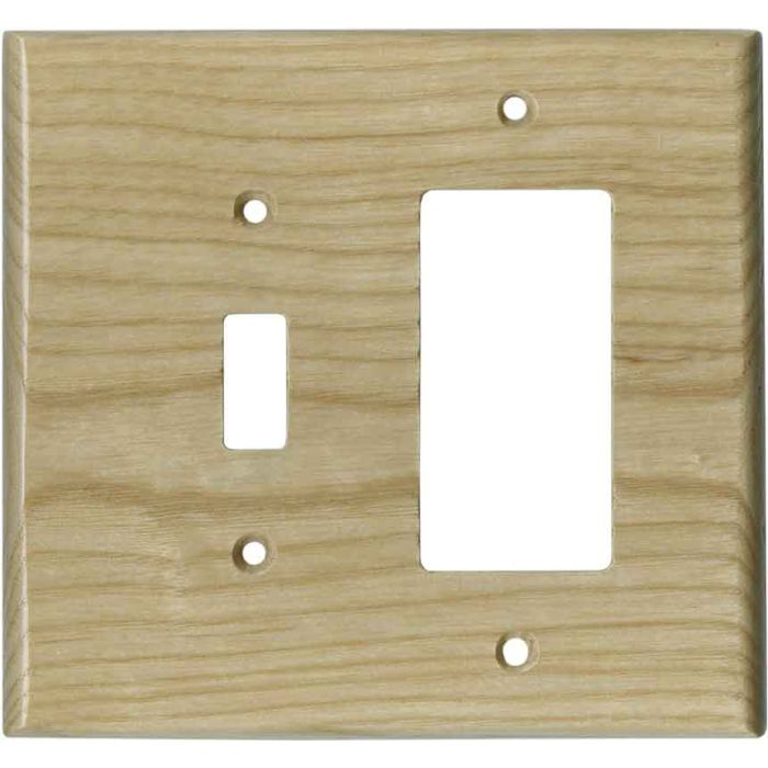 White Ash Unfinished - Combination 1 Toggle/Rocker Switch Covers