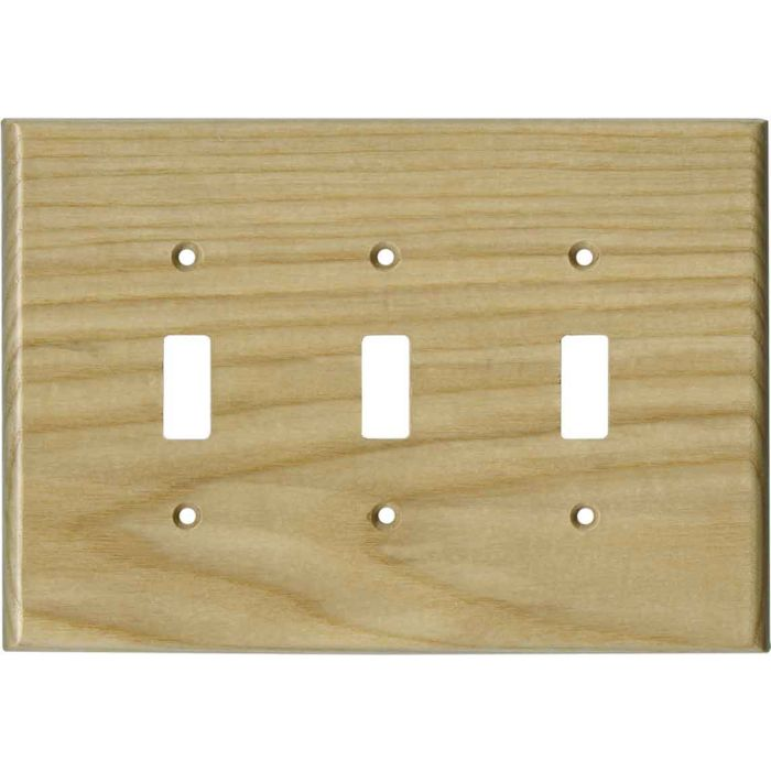 White Ash Unfinished - 3 Toggle Light Switch Covers