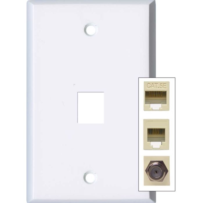 White Enamel 1 Port Modular Wall Plates for Phone, Data, Phone