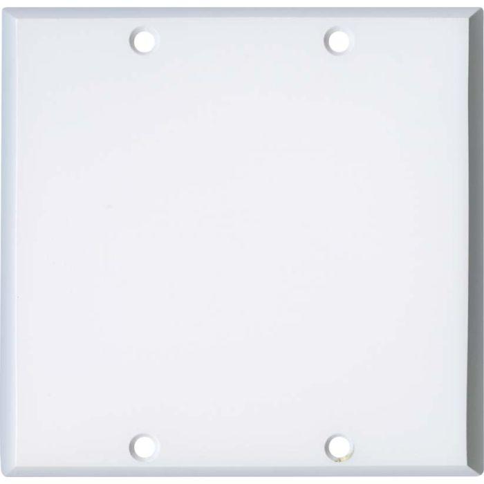 White Enamel Double Blank Wallplate Covers