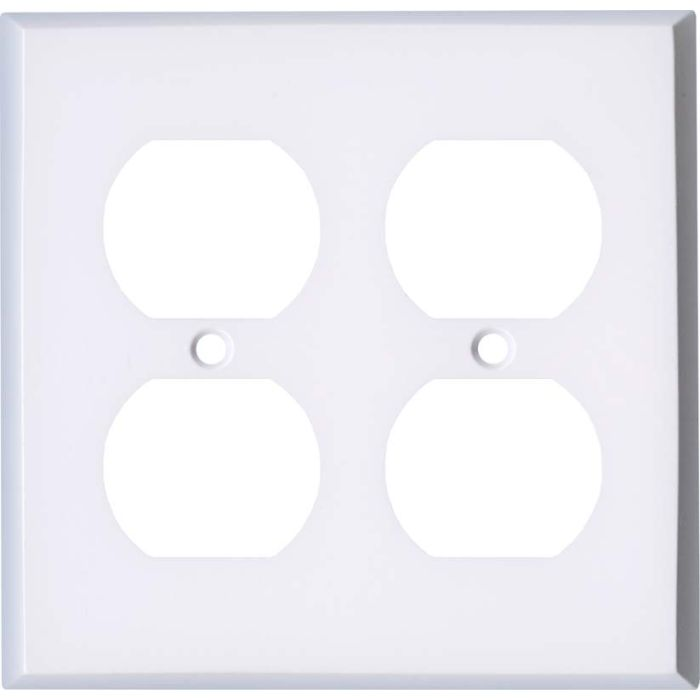 White Enamel 2 Gang Duplex Outlet Wall Plate Cover