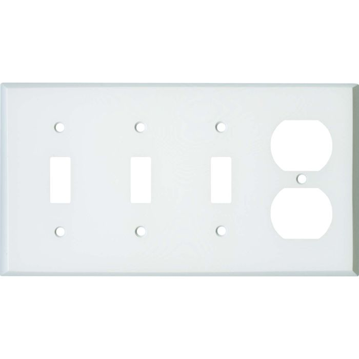 White Enamel Combination Triple 3 Toggle / Outlet Wall Plate Covers