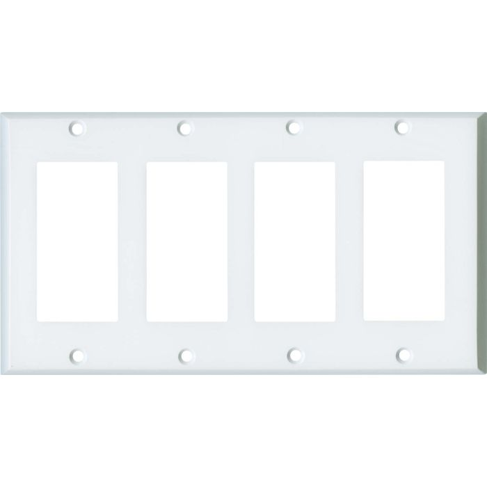 White Enamel 4 Rocker GFCI Decorator Switch Plates